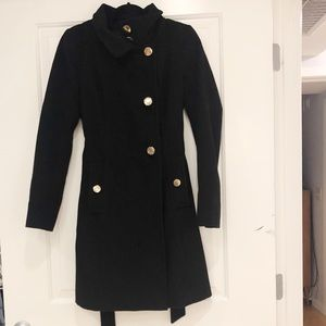 Tahari Peacoat with Gold Buttons and Belt